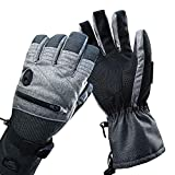HighLoong Men Ski Snowboard Gloves with Waterproof and Thinsulate for Cold Winter-Black