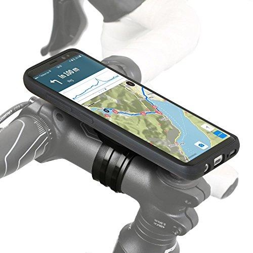 QuickMOUNT 3.0 fietshouder compatibel met Samsung Galaxy S8 (SM-G950F) Bike Kit met hoes en regenhoes (telefoonhouder, oplaadkabel en hoofdtelefoonaansluiting) zwart/mat
