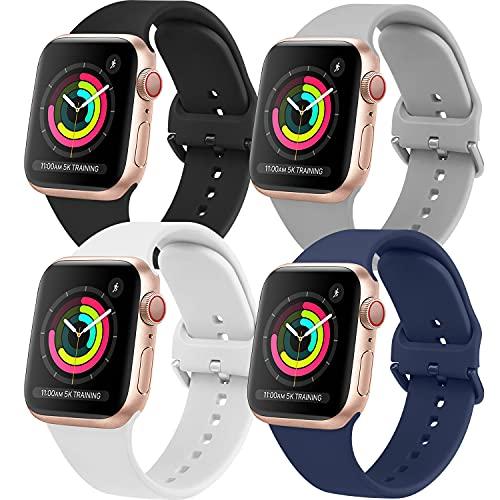 AOZZ 4-PEZZI Compatibile per Cinturino Apple Watch 40mm 38mm 42mm 44mm, Cinturini Sportivo per iWatch SE Series 6 5 4 3 2 1, Morbidi Silicone per Donne e Uomini (42MM/44MM M/L)