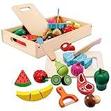 mysunny Frutas y Verduras Juguete para Cortar, Cocina Comida de Juguete, Juguetes de Madera Accesorios Cocina para Niños, Comida Cocinar Simulación Juguetes Educativos para Niños y Niñas de 3+ años