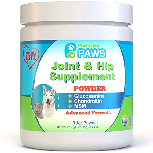 Particular Paws Glucosamine for Dogs and Cats - Powder - Joint & Hip Supplement with MSM, Chondroitin, Hyaluronic Acid and Vitamin C & E - 10 Ounce Powder
