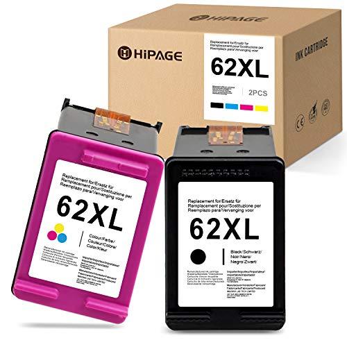 HIPAGE 62XL Compatibile per HP 62XL 62 XL Cartucce per stampanti per HP OfficeJet 250 200 5740 5742 HP Envy 7640 5540 5544 5545 5547 5548 5640 5642 5644 5646 (Nero,Colore)