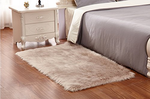 Price comparison product image HUAHOO Camel Faux Sheepskin Area Rug Chair Cover Seat Pad Plain Shaggy Area Rugs for Bedroom Sofa Floor Camel (2' x 3' Sofa Mat)