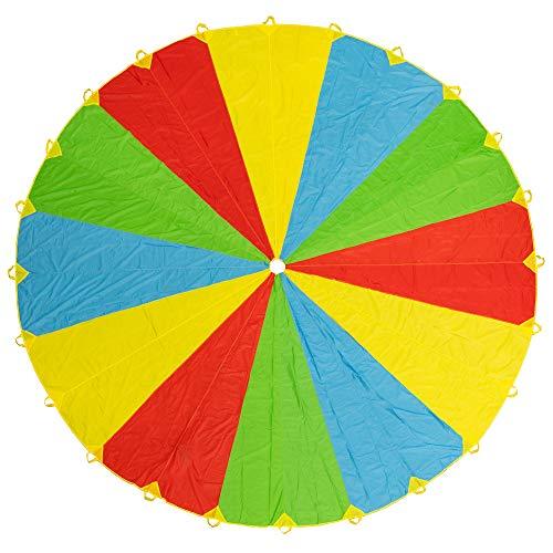 20ft/6m Schwungtuch Fallschirm Spielzeug - Regenbogen Parachute 24 Griffen Gymnastik Geschicklichkeit Turnen - ideale Aktivität in Innenräumen für Kinder - für stundenlanges Spiel und Unterhaltung