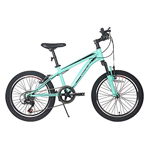 COEWSKE 20 Inch Kids Bike Enjoy-Style Children's Variable Speed Mountain Bike Sports Cycling 1 Speed & 6 Speed with Kickstand Fit for 6-10 Years Old Or 49-60 Inch Tall Kids (6-Speed Turquoise)