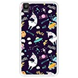 Hapdey Funda Transparente para [ Bq Aquaris E5s - E5 4G ] diseño [ Llama Unicornio en el Espacio, Welcome to The Moon ] Carcasa Silicona Flexible TPU