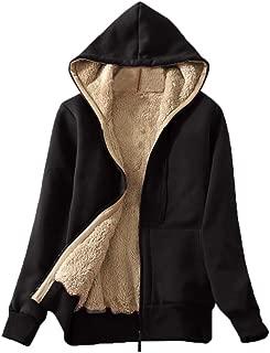 FONMA Women's Casual Winter Warm Coat Sherpa Lined Zip Up Hooded Sweatshirt Jacket