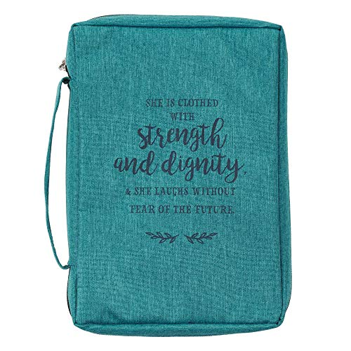 Strength and Dignity Proverbs 31:25 Teal Canvas Bible Cover, Book Cover Case for Men and Women Large Zippered Case for Bible or Book w/Handle