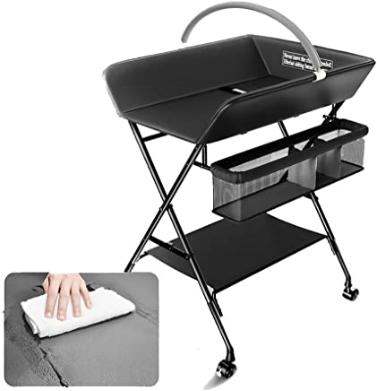 ZAQI Portable Baby Changing Tables Wheels  Nursery Schools Folding Dressers For Small Spaces  with Storage  0-3 Years Old  Color Black
