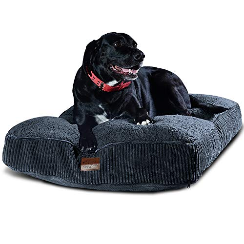 Floppy Dawg Extra Large Dog Bed with Removable, Machine Washable Cover and Waterproof Liner. Classic Pillow Stuffed with Orthopedic Memory Foam Blend. Made for Big Dogs up to 100 Pounds or More.