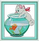 YOFUHOME Kit de Punto de Cruz Kit de Manualidades de Bordado para Gatos y acuarios (11 u.) Gama Completa de Kit de Inicio de Bordado, niños Adultos, Principiantes, Costura, decoración de la