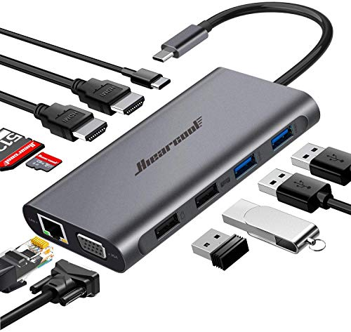 Hiearcool USB C Hub,USB-C Laptop Docking Station,11 in...