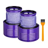 HEYLULU 2pieces Washable Filter + Cleaning Brush for V10 V12 Cyclone Vacuum Cleaner