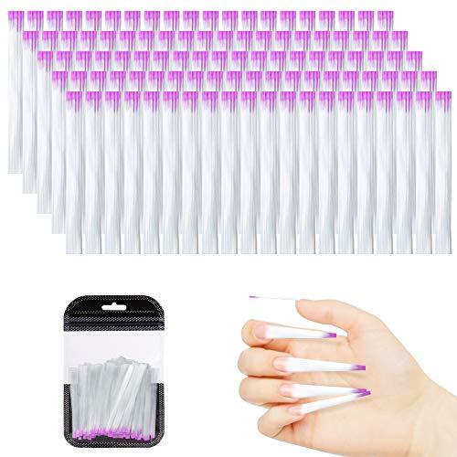 Vordas 100 Piezas Kit de Extensión de Uñas de Fibra de Vidrio, Uñas Fibra Seda para Salones de Uñas para Manicura de Uñas Arte para Mujeres Chicas