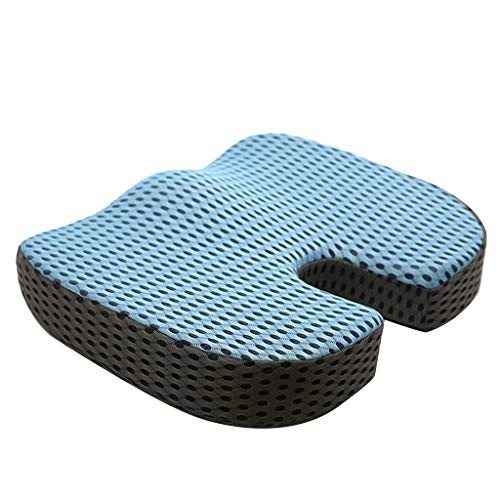 Seat Cushion for Office Chair,Orthopedic Gel & Memory Foam Seat Cushion for Long Sitting,U-Shaped Pressure Relief Car Seat Cushion for Sciatica & Back Pain Relief (Blue)