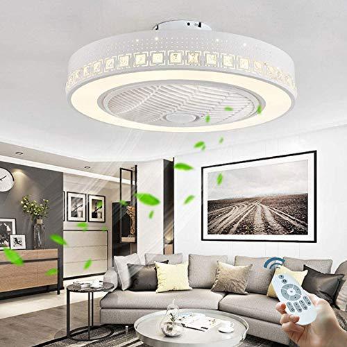 Ventilator Deckenleuchte Mit LED-Beleuchtung Und Fernbedienung Deckenventilator Leise Lüfter Licht 40W Dimmbare Kristall Deckenlampe Kinderzimmer Schlafzimmer Wohnzimmer Innen Deckenbeleuchtung (A)