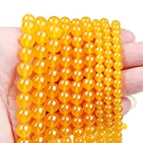 60pcs 6mm Natural Stone Beads,Gemstone Round Loose Beads for DIY Bracelet Necklace Earrings ,Stone Beads for Jewelry Making(Yellow Agate)
