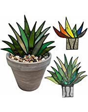 ZMME Suncatcher Stained Agave Plante Realistic Potted Bonsai Mini Acrylic Aloe Decor (1,Colorful(7in))