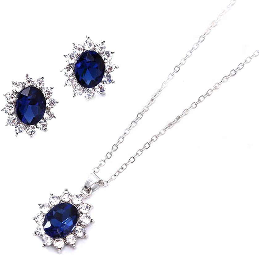 Sapphire Earring Necklace Jewelry Set for Women Girls Cubic Zirconia Halo Necklace Set Bridesmaid Bride Bridal Jewelry Set for Wedding Prom Jewelry for Christmas Birthday Gifts