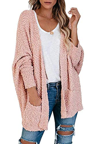 ZESICA Women's Popcorn Long Sleeve Open Front Chunky Knit Oversized Cardigan Sweater Coat with Pockets,Pink,Large