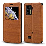 Ulefone Power Armor 13 Case, Wood Grain Leather Case with