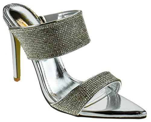 Glaze Borry 1 Womens Classic Stiletto Mule Heel Double Band Rhinestone Pointed Toe Dress Sandals Silver 7