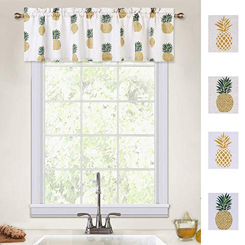 CAROMIO Pineapple Valances for Kitchen, Pineapple Print Linen Blend Small Valances for Windows Bathroom Window Curtains Cafe Kitchen Curtains, Green, 55Wx15L