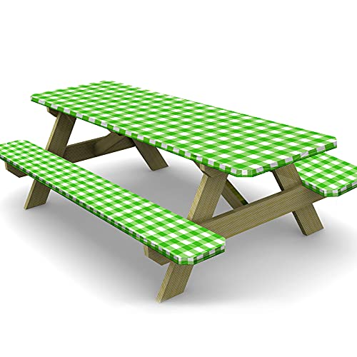 Ruisita 3 Pieces 72 Inches Vinyl Picnic Table and Bench Fitted Tablecloth Cover Picnic Table and Bench Fitted Tablecloth for Picnics Indoor and Outdoor Dining, Green and White