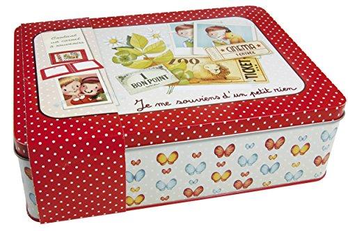 Avenue Mandarine 62414O - Une boite à souvenirs collection Dis moi… 23x17x7 cm avec un carnet photos 96 pages inclus, Rouge