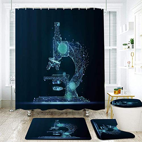 FOURFOOL Shower Curtain Sets with Non-Slip Rugs,Toilet Lid Cover and Bath Mat,Abstract Style Microscope Shape Physics Analyse Educational Future Graphic Waterproof Bath Curtains Hooks Included