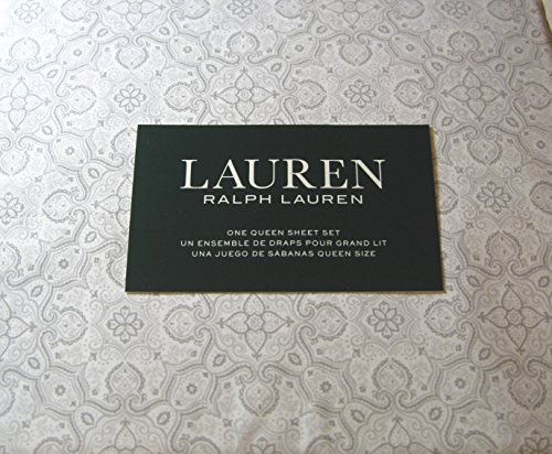 Lauren 4 Piece Queen Size Medallion Floral Sheet Set Gray 100% Cotton
