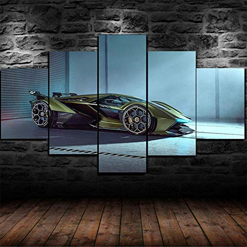 Cuadro En Lienzo 200X100Cm Póster Lamborghi Lambo V12 Vision Gt Impresión De 5 Piezas Material Tejido No Tejido Impresión Artística Imagen Gráfica Decor Pared