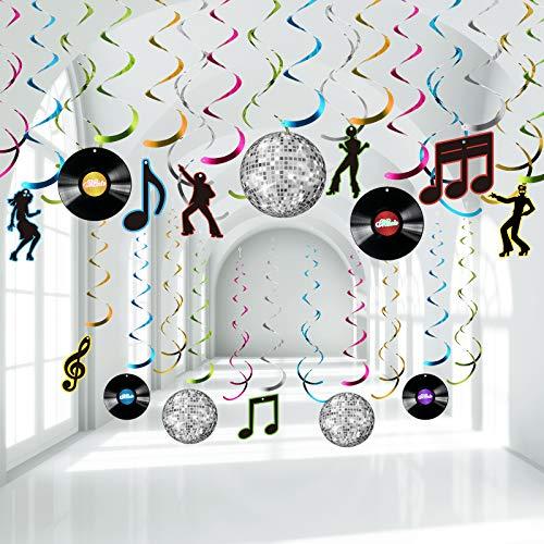 Decoraciones de Remolino Papel Fiesta Disco de los Años 70, Bandera de Let's Boogie Decoraciones Techo Discos Música Remolinos Colgantes Fiesta Bola Discoteca Años 70 para Fiesta 1970, 30 Piezas