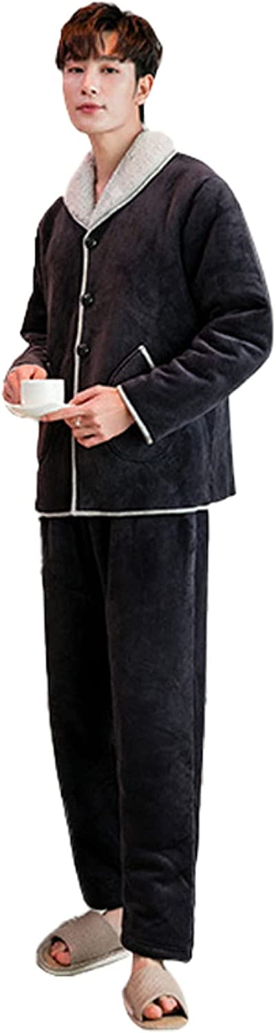 Pajama Set Men Long Sleeve Trousers Grey Buttons Casual Polyester Thicken Winter Homewear