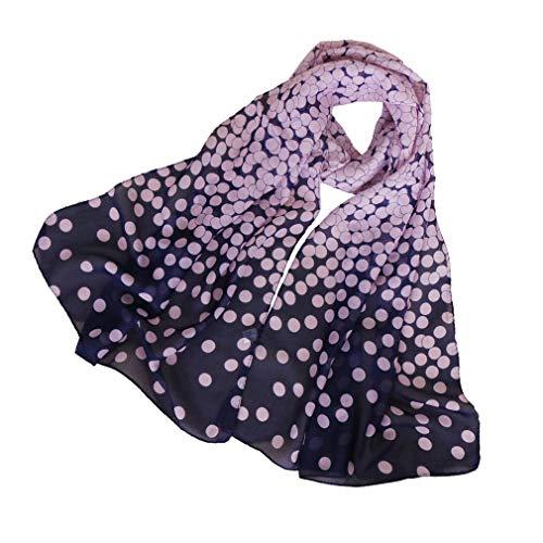 KAVINGKALY Sciarpa floreale in chiffon Sciarpe floreali da donna Sciarpa in chiffon stampato Sciarpe a pois Sciarpa lunga sciarpa (rosa + blu scuro)