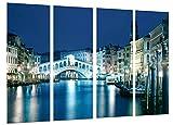 Cuadros Camara Poster Fotográfico Paisaje Venecia de Noche, Italia, Puente Venecia Tamaño total: 131 x 62 cm XXL, Multicolor