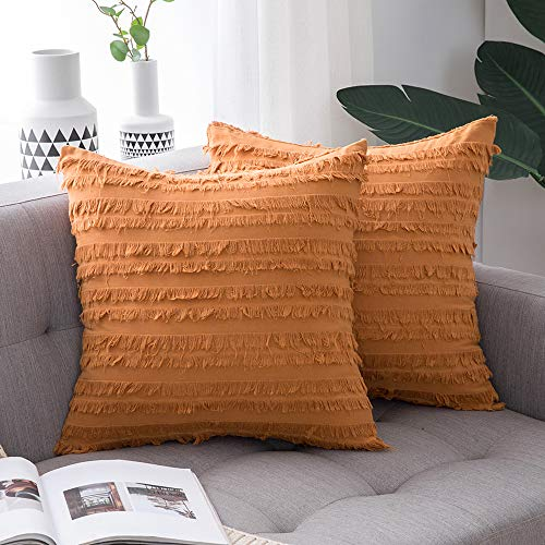 MIULEE Set of 2 Fall Decorative Boho Throw Pillow Covers Linen Striped Jacquard Pattern Cushion Covers for Sofa Couch Living Room Bedroom 18x18 Inch Orange
