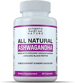 Ashwagandha Organic Capsules by ABN. All Natural Root Powder Extract with Black Pepper for Fast Absorption. Great Capsule Supplement for Stress Relief and Adrenal Fatigue. Non GMO (60 Pills)