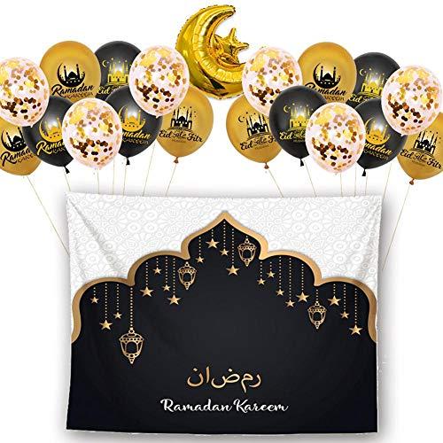 humflour Eid Mubarak Globo Set Decoración Set para La Celebración del Partido Islámico Musulmán