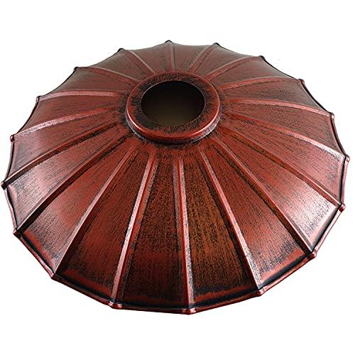 Persianas de lámpara de techo de metal, estilo retro, modernas, de fácil ajuste, para lámparas colgantes industriales, dormitorio, cocina, baño, pantalla envejecida, rojo
