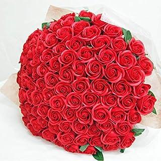 お好きな本数 ソープフラワー花束 レッド(k) 50本 ブーケ 赤いバラの花束 還暦 誕生日 発表会 お祝い フラワーギフト 記念日 結婚 退職 シャボンフラワー 造花 枯れない