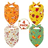 PAWCHIE Autumn Element Dog Bandana 4 Pack - Soft and Breathable Adjustable Doggy Triangle Scarf Bibs with Autumn Pattern, Fit for Small to Large Dogs, Cats