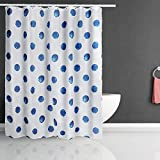 Blue Cloth Shower Curtain and Hooks for Bathroom Stalls and Bathtubs - Waterproof Cloth Bath Curtain Machine Washable Hotel Quality,72 x 72 Inch,Blue Dot Design, Yittucetek