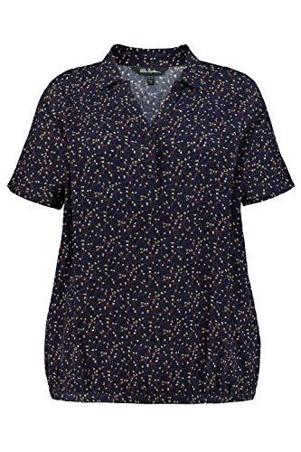 Ulla Popken Damen Tunika-Shirt, Blau (Marine 74891076), 50-52