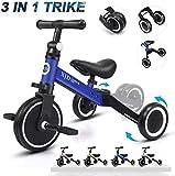 XJD 3 en 1 Vélo Draisienne Tricycle pour Enfants de 1-3 Ans Premier Vélo d'Entraînement d'Équilibre Véhicule avec Pédale Cadeau pour Filles Garçons Léger (Bleu foncé)