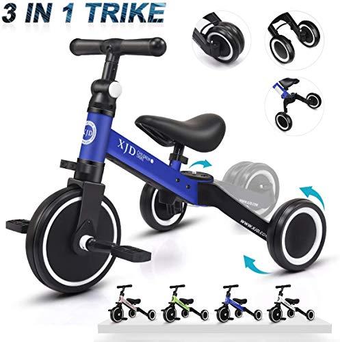 XJD 3 in 1 Kinder Dreiräder ab 1 Baby Laufrad Jungen Mädchen für 1-3 Jahre Alt Upgrade 2.0 (Dunkelblau)