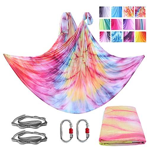 GLYIG Sedas aéreas + Hamaca de Yoga (Grado Profesional) Incluye sedas de Tela de Tricot de Nailon aéreo, Columpio sensorial - Eslinga de Yoga antigravedad para Principiantes y avanzados