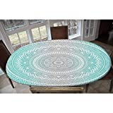 Grey and Aqua Elastic Polyester Fitted Table Cover,Ombre Traditional Universe Symbol with Tribal Geometric Zen Artwork Decorative Oblong/Oval Dinner Fitted Table Cloth,Fits Tables up to 48