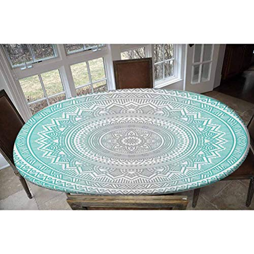 Grey and Aqua Elastic Polyester Fitted Table Cover,Ombre Traditional Universe Symbol with Tribal Geometric Zen Artwork Decorative Oblong/Oval Dinner Fitted Table Cloth,Fits Tables up to 48' W x 68' L