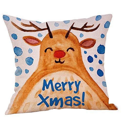 Kapian Kuschelweiche Kissenhulle 40x40 cm Weihnachtsmann WEIHNACHTEN Winter Dekokissen Kurzvelours Soft Touch Kissenbezug Kissen